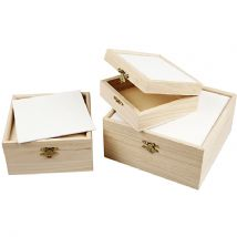 3 Boxes With Canvas Panel - Assorted Sizes